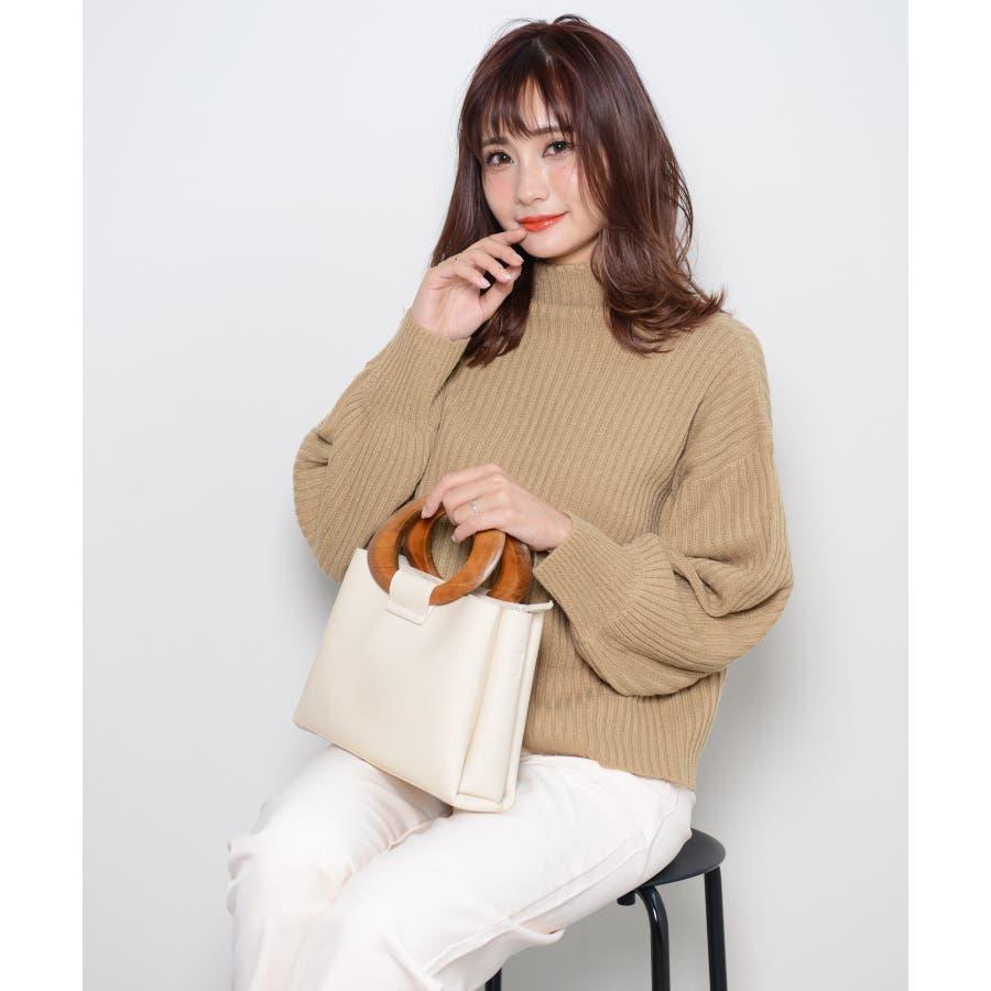 冬新作 ウッドハンドル2wayバッグ バッグ 鞄 ハンド ショルダー 2way ウッドハンドル スクエア PUシンプルレディース韓国ファッション Instagram 6