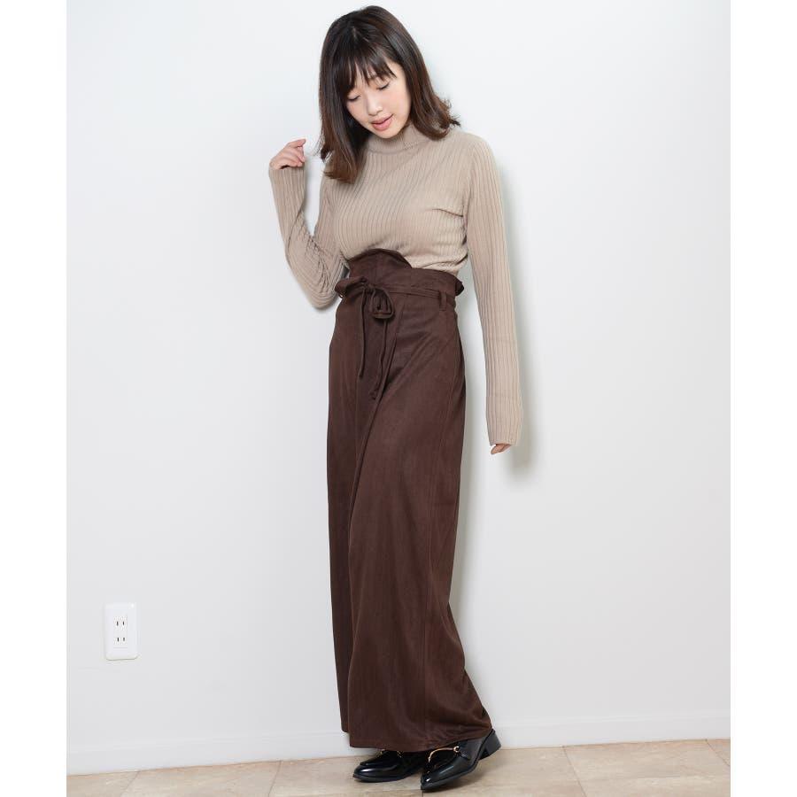 秋新作 フェイクスエードラップパンツ ボトムス パンツ ラップパンツ リボン スエード ワイドパンツ シンプルブラウンレディース韓国ファッション 6