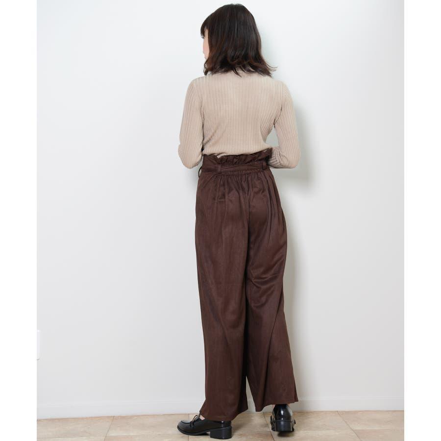 秋新作 フェイクスエードラップパンツ ボトムス パンツ ラップパンツ リボン スエード ワイドパンツ シンプルブラウンレディース韓国ファッション 7