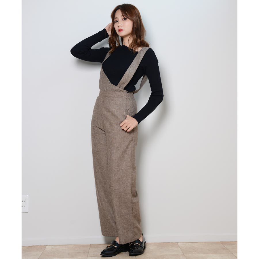 冬新作 アシンメトリーオールインワン オールインワン アシンメトリー パンツ ツイード 3way シンプル レイヤードレディース韓国ファッション 29