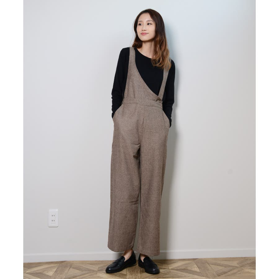 冬新作 アシンメトリーオールインワン オールインワン アシンメトリー パンツ ツイード 3way シンプル レイヤードレディース韓国ファッション 4