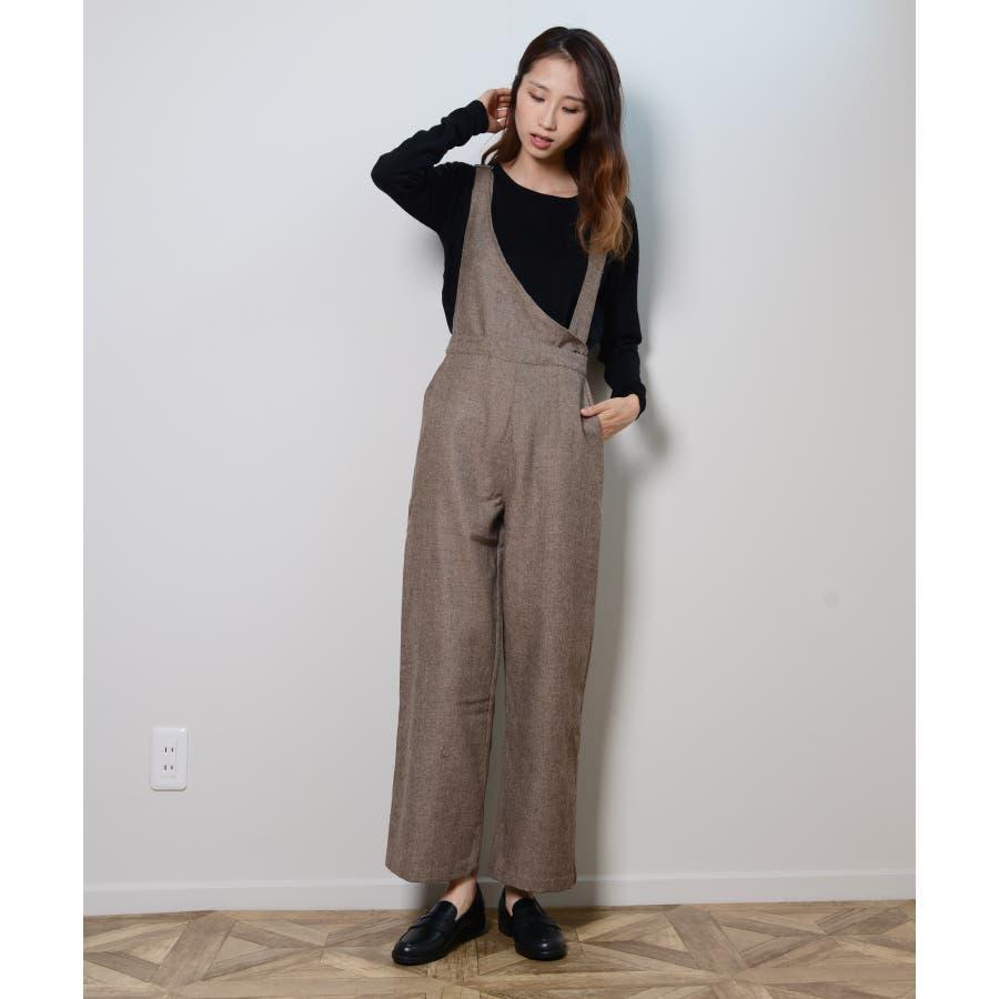 冬新作 アシンメトリーオールインワン オールインワン アシンメトリー パンツ ツイード 3way シンプル レイヤードレディース韓国ファッション 5