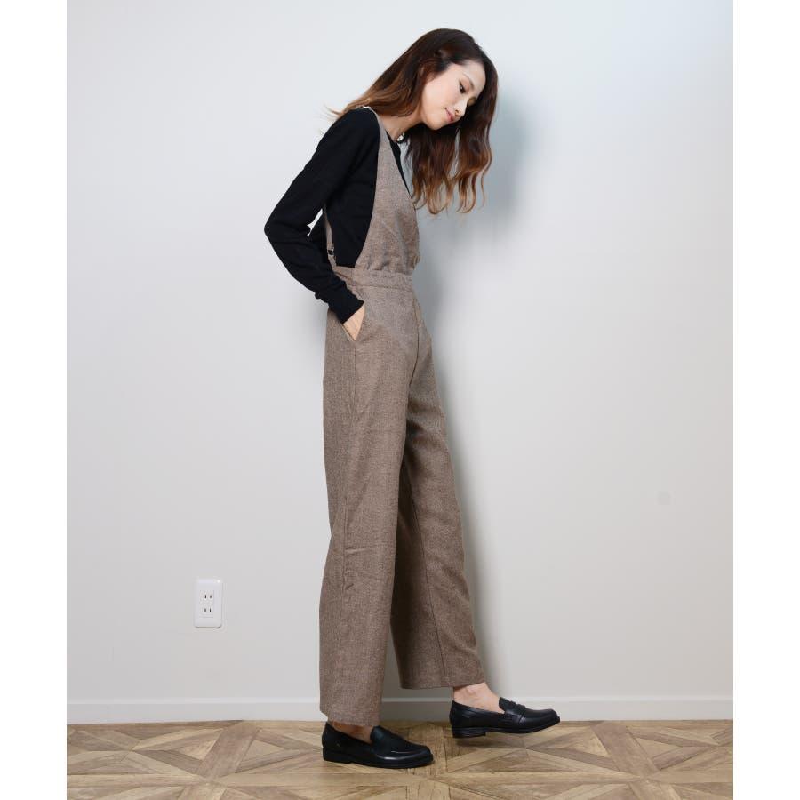 冬新作 アシンメトリーオールインワン オールインワン アシンメトリー パンツ ツイード 3way シンプル レイヤードレディース韓国ファッション 6