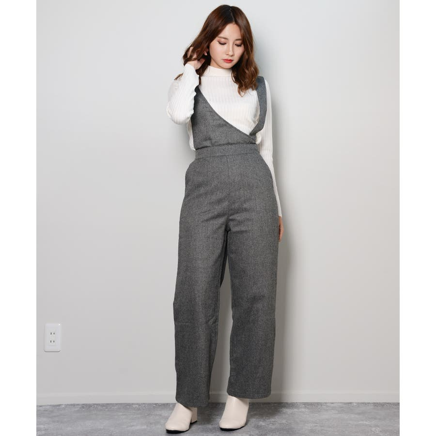冬新作 アシンメトリーオールインワン オールインワン アシンメトリー パンツ ツイード 3way シンプル レイヤードレディース韓国ファッション 26