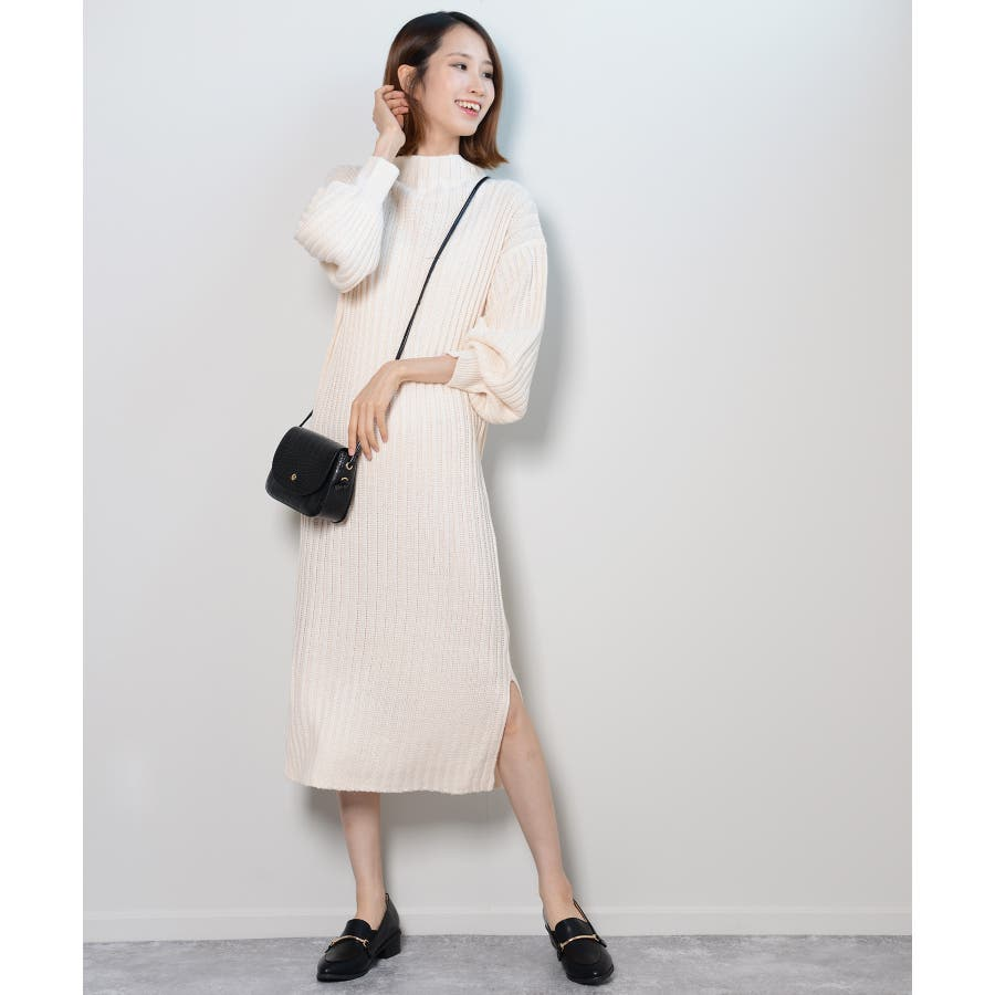 秋新作 プチハイネックリブニットワンピ ワンピース ニットワンピ プチハイネック ニット バルーンスリーブ シンプルレディース韓国ファッション 3