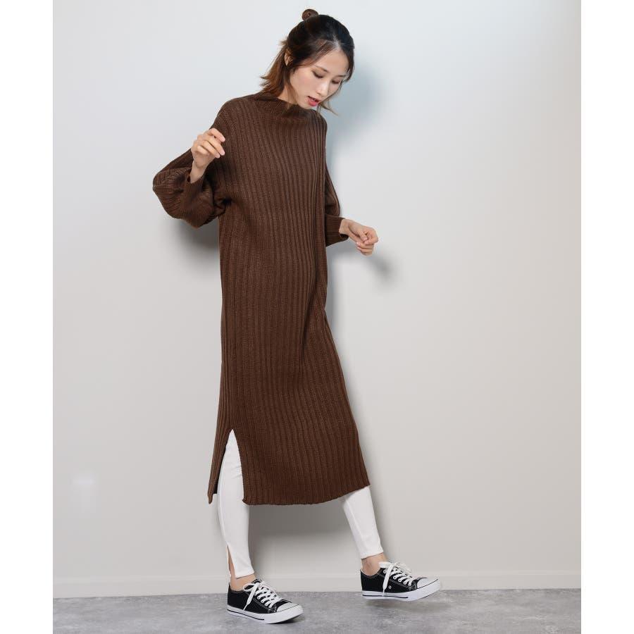 秋新作 プチハイネックリブニットワンピ ワンピース ニットワンピ プチハイネック ニット バルーンスリーブ シンプルレディース韓国ファッション 8