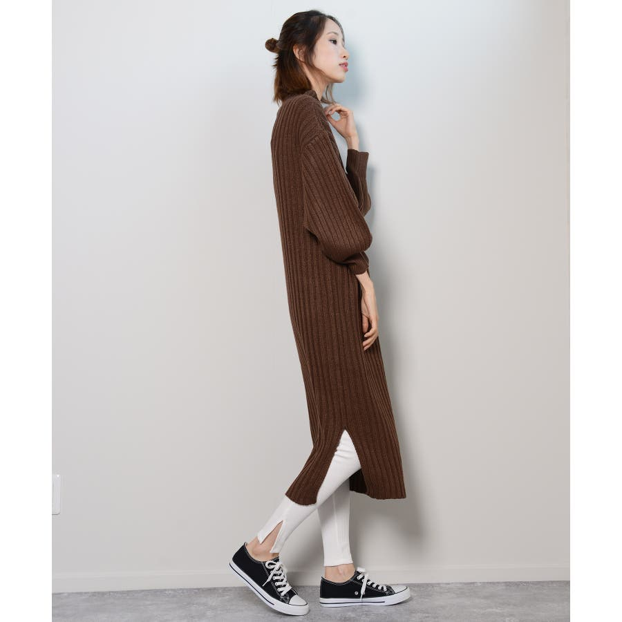 秋新作 プチハイネックリブニットワンピ ワンピース ニットワンピ プチハイネック ニット バルーンスリーブ シンプルレディース韓国ファッション 9