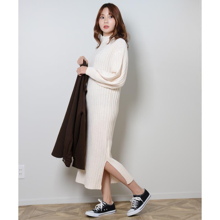 秋新作 プチハイネックリブニットワンピ ワンピース ニットワンピ プチハイネック ニット バルーンスリーブ シンプルレディース韓国ファッション 6