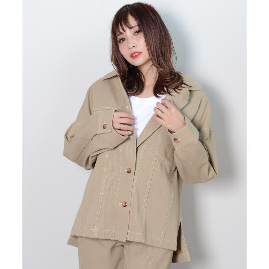 秋新作 BIGジャケット アウター ジャケット セットアップ オーバーサイズ BIG ゆったり シンプル レディース 韓国ファッション 41