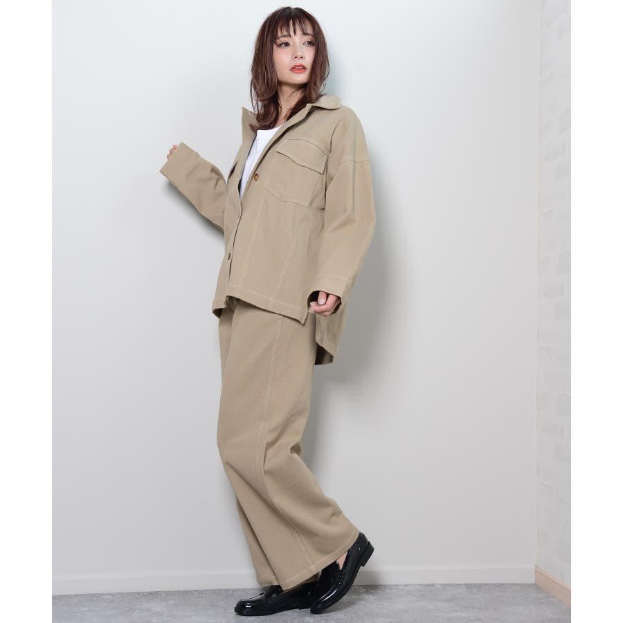 秋新作 BIGジャケット アウター ジャケット セットアップ オーバーサイズ BIG ゆったり シンプル レディース 韓国ファッション 8