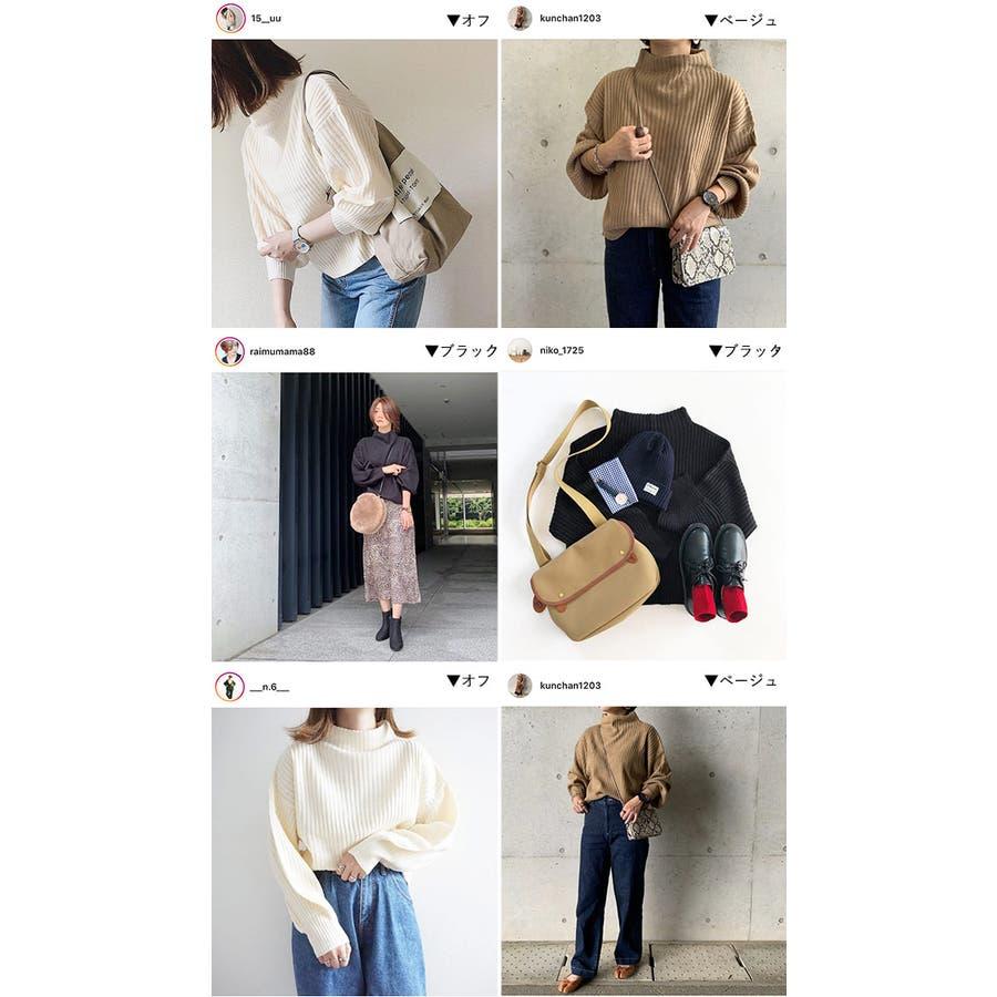 秋新作 リブハイネックニット トップス リブ ハイネック ニット バルーンスリーブ シンプル レディース 韓国ファッションInstagram 2