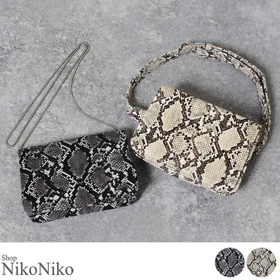 秋新作 パイソン2wayバッグバッグ 鞄 ショルダー ウエストポーチ ベルト パイソン 蛇 ミニ レディース韓国ファッション 1