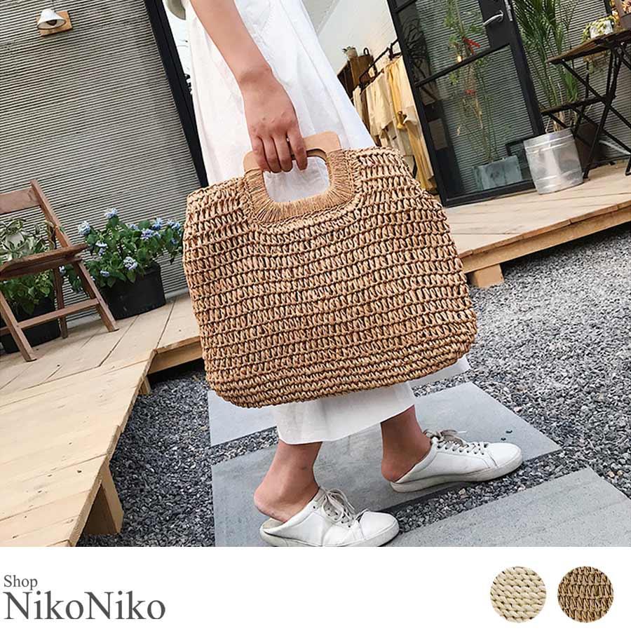 秋新作 ペーパーハンドバッグ バッグ 鞄 ペーパー かご ミニバッグ ハンド シンプル コンパクト ミニ 韓国ファッション レディース 1