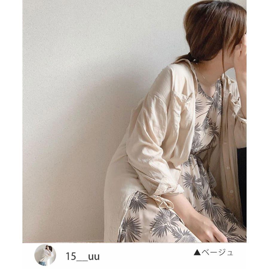 秋新作 ヤシ柄ヘンリーノースリワンピース シンプル ヤシ柄 ヘンリー ノースリ ワンピース トレンド レディース 韓国ファッション流行Instagram 2