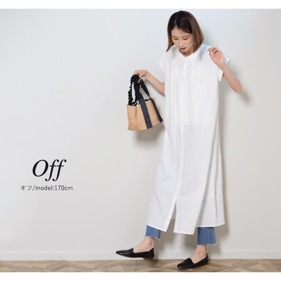 秋新作 フレンチスリーブギャザーOP ma ワンピース ワンピ シャツワンピ フレンチスリーブ ギャザー ロングシャツシンプル韓国ファッション レディース 6
