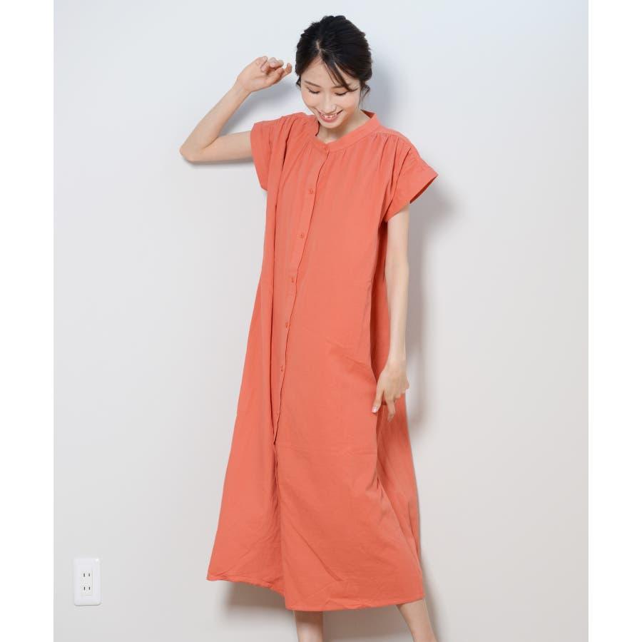 秋新作 フレンチスリーブギャザーOP ma ワンピース ワンピ シャツワンピ フレンチスリーブ ギャザー ロングシャツシンプル韓国ファッション レディース 99