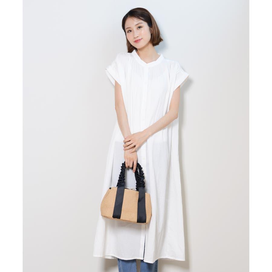 秋新作 フレンチスリーブギャザーOP ma ワンピース ワンピ シャツワンピ フレンチスリーブ ギャザー ロングシャツシンプル韓国ファッション レディース 17
