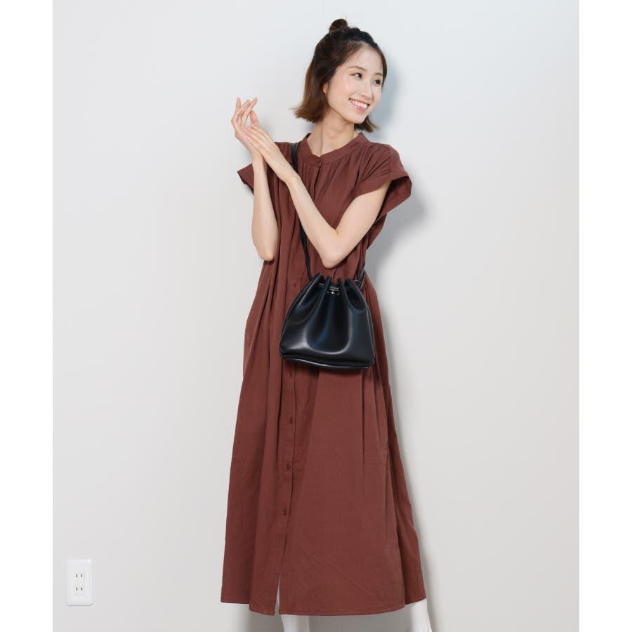 秋新作 フレンチスリーブギャザーOP ma ワンピース ワンピ シャツワンピ フレンチスリーブ ギャザー ロングシャツシンプル韓国ファッション レディース 29