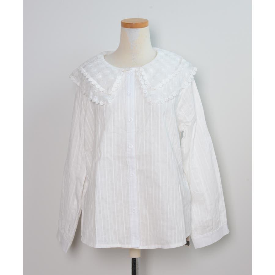 秋新作 レース襟シャツ ma トップス シャツ ブラウス 刺繍 レース レディース 韓国ファッション 2