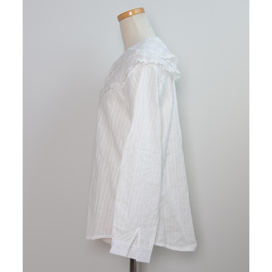 秋新作 レース襟シャツ ma トップス シャツ ブラウス 刺繍 レース レディース 韓国ファッション 3