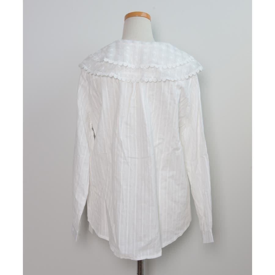 秋新作 レース襟シャツ ma トップス シャツ ブラウス 刺繍 レース レディース 韓国ファッション 4