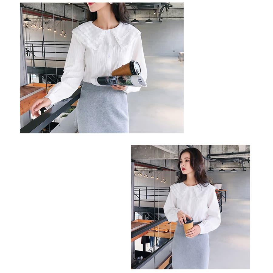 秋新作 レース襟シャツ ma トップス シャツ ブラウス 刺繍 レース レディース 韓国ファッション 6