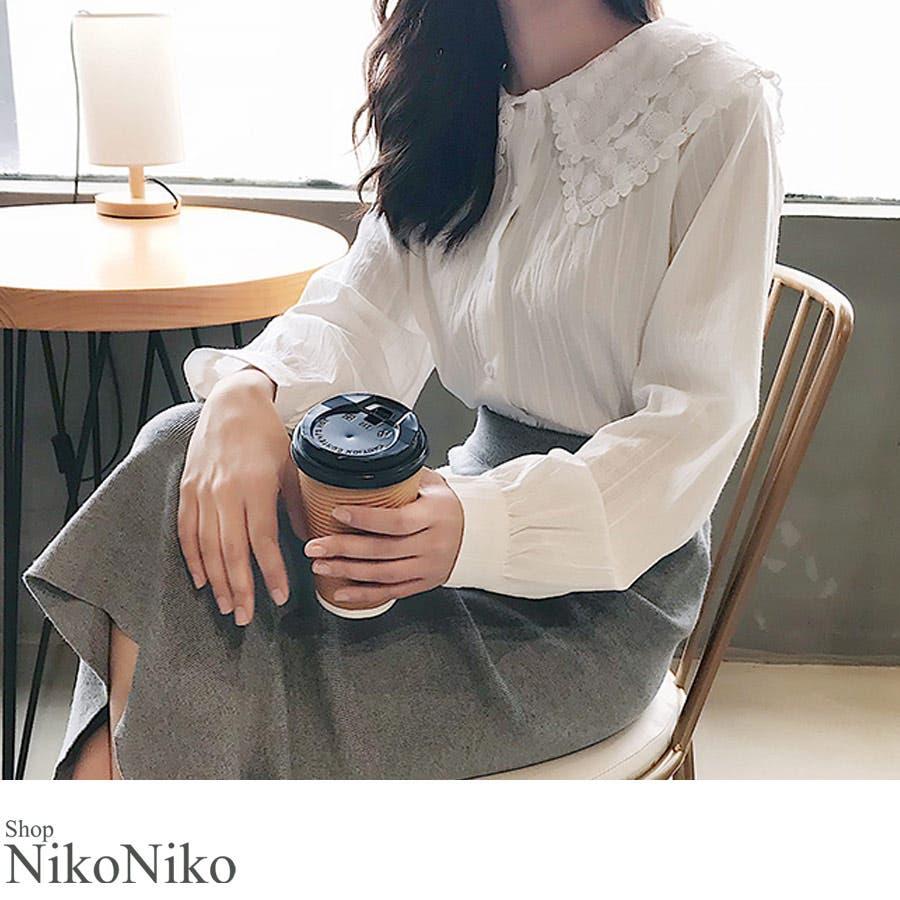 秋新作 レース襟シャツ ma トップス シャツ ブラウス 刺繍 レース レディース 韓国ファッション 1