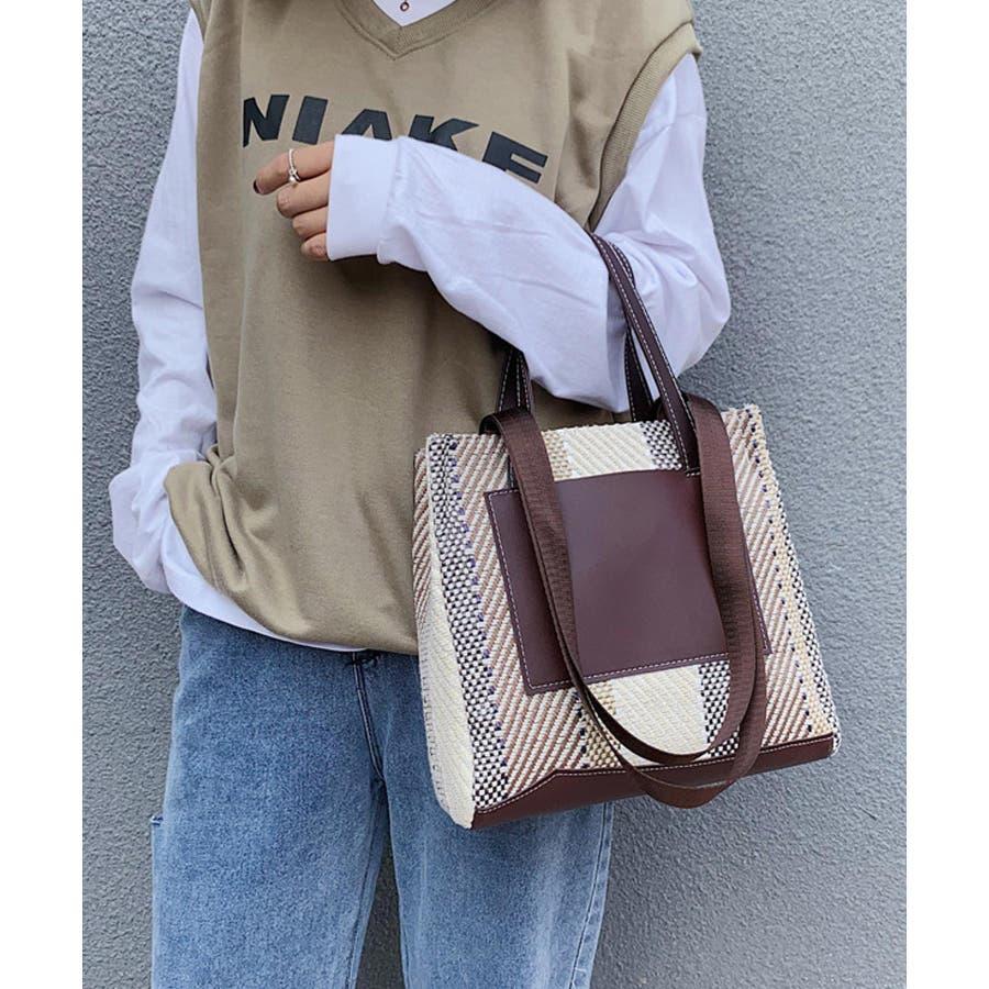 秋新作 ジュートハンドバッグ バッグ ハンド ショルダー 鞄 ストライプ 異素材MIX レザー調トレンド 韓国ファッション レディース 7