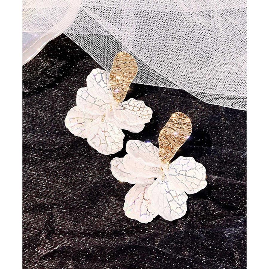 秋新作 フラワーピアス ma アクセサリー アクセ ピアス ゴールド フラワー シェル 華奢 プレート トレンドレディース韓国ファッション 流行 5