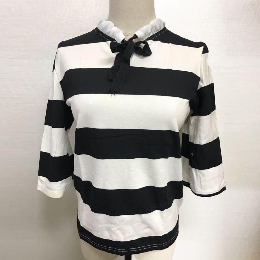 Tシャツ カットソー レディース ボーダー柄 プルオーバー リボン 5分袖 3