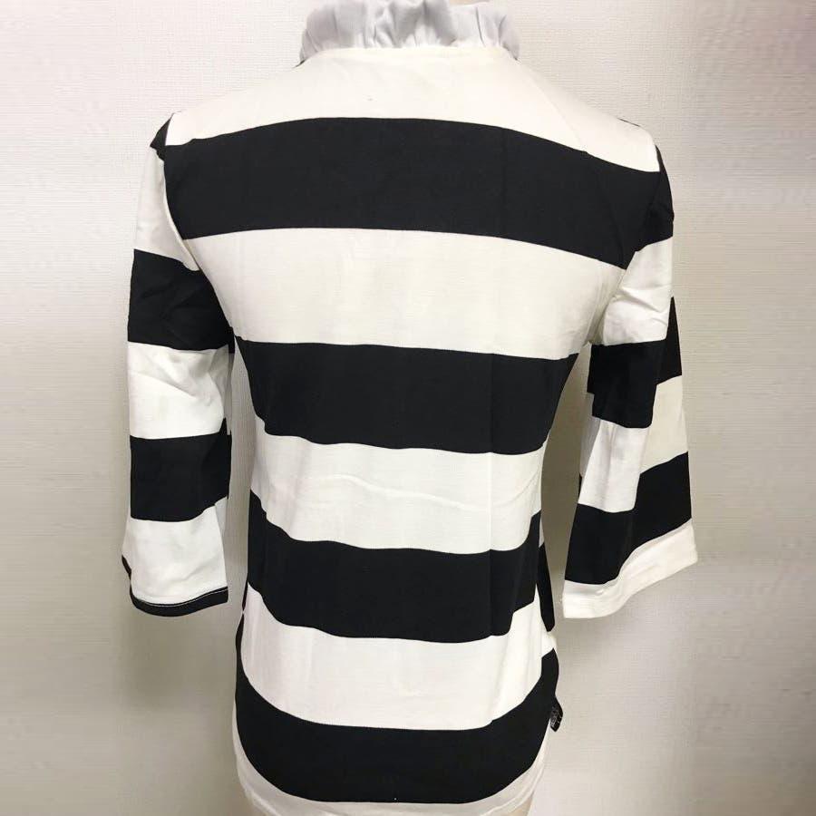 Tシャツ カットソー レディース ボーダー柄 プルオーバー リボン 5分袖 5