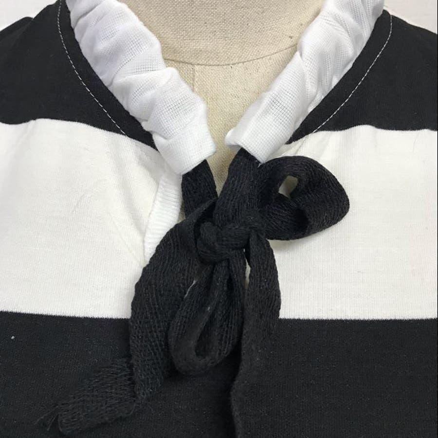 Tシャツ カットソー レディース ボーダー柄 プルオーバー リボン 5分袖 6
