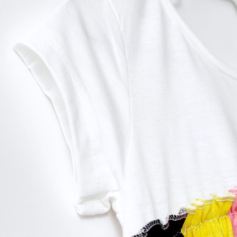 キッズ ワンピース ワンピ チュニック カットソー 半袖 ランダムチェック モザイク柄 カラフル ポップ 切替ワンピース 華やかホワイト ドッキング フレアスカート Aライン 110 120 130 140 7