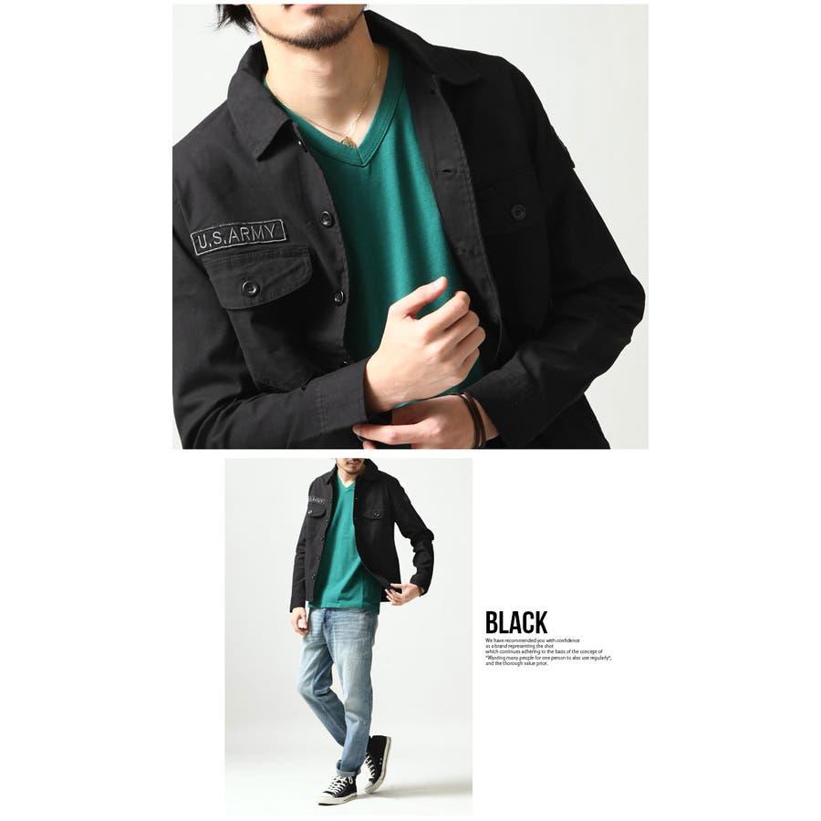ミリタリーシャツ メンズ カジュアルシャツ ワークシャツ シャツ 長袖 バックサテン ミリタリー ロゴ ストレッチ 伸縮性 刺繍ポケット M L 5