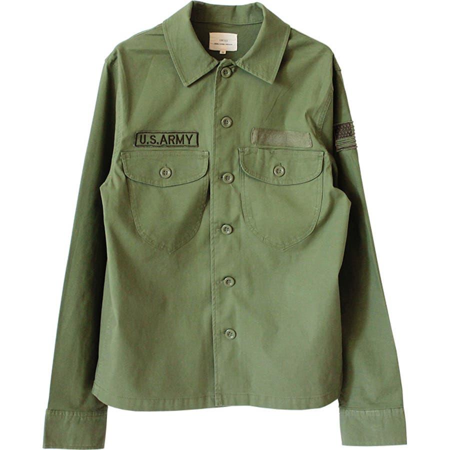 ミリタリーシャツ メンズ カジュアルシャツ ワークシャツ シャツ 長袖 バックサテン ミリタリー ロゴ ストレッチ 伸縮性 刺繍ポケット M L 8