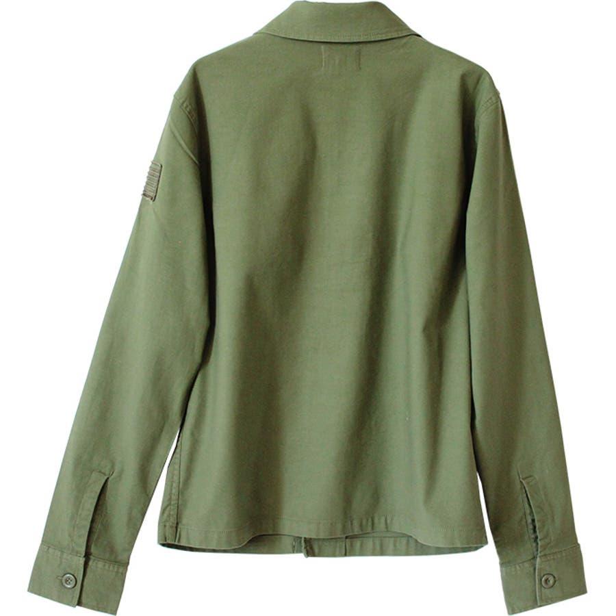 ミリタリーシャツ メンズ カジュアルシャツ ワークシャツ シャツ 長袖 バックサテン ミリタリー ロゴ ストレッチ 伸縮性 刺繍ポケット M L 9