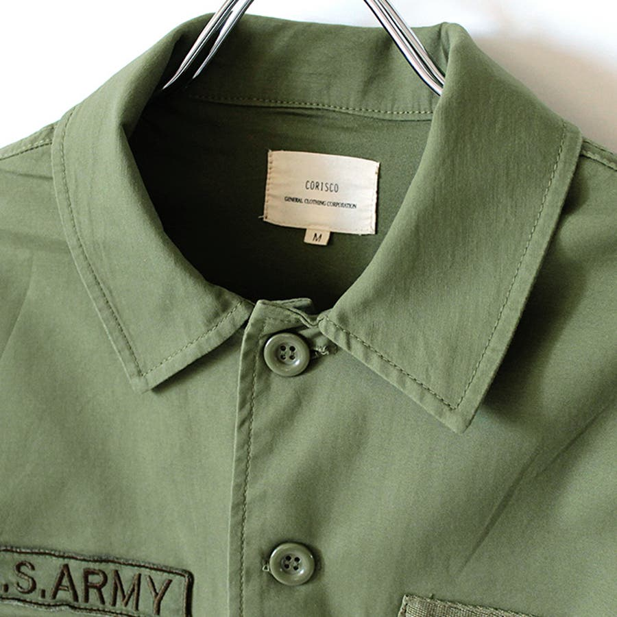 ミリタリーシャツ メンズ カジュアルシャツ ワークシャツ シャツ 長袖 バックサテン ミリタリー ロゴ ストレッチ 伸縮性 刺繍ポケット M L 10