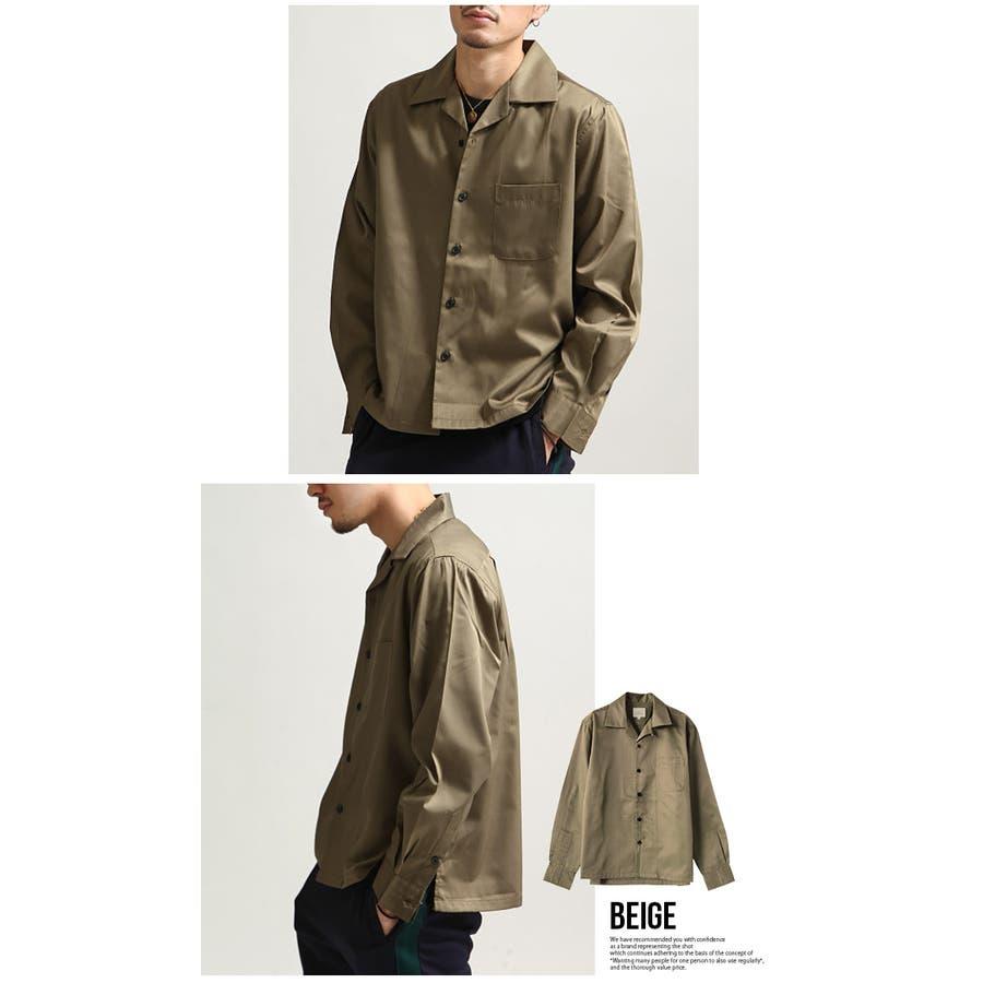 シャツ メンズ オープンカラーシャツ 開襟シャツ 長袖 カジュアルシャツ 無地 ネイビー ブラック ベージュ グリーン パープルグレー M L XL 6