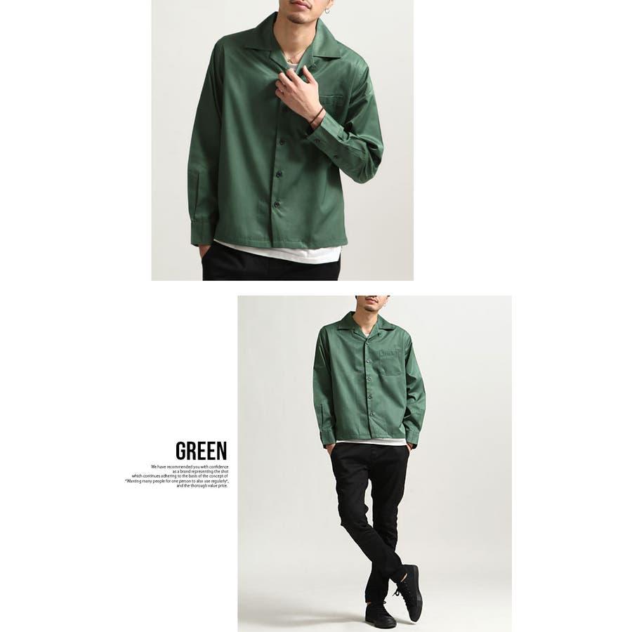 シャツ メンズ オープンカラーシャツ 開襟シャツ 長袖 カジュアルシャツ 無地 ネイビー ブラック ベージュ グリーン パープルグレー M L XL 7
