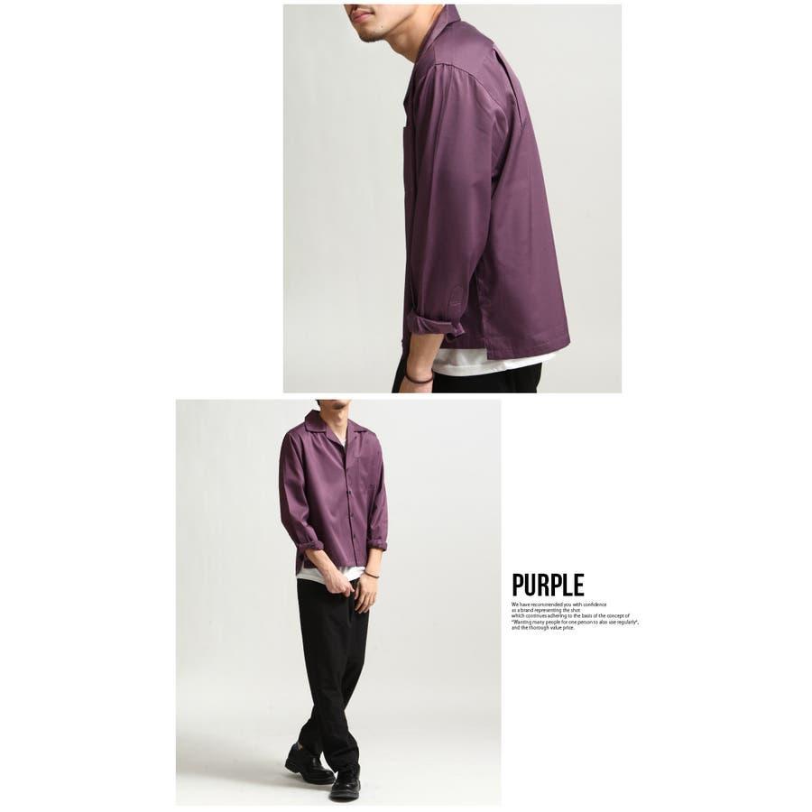 シャツ メンズ オープンカラーシャツ 開襟シャツ 長袖 カジュアルシャツ 無地 ネイビー ブラック ベージュ グリーン パープルグレー M L XL 8