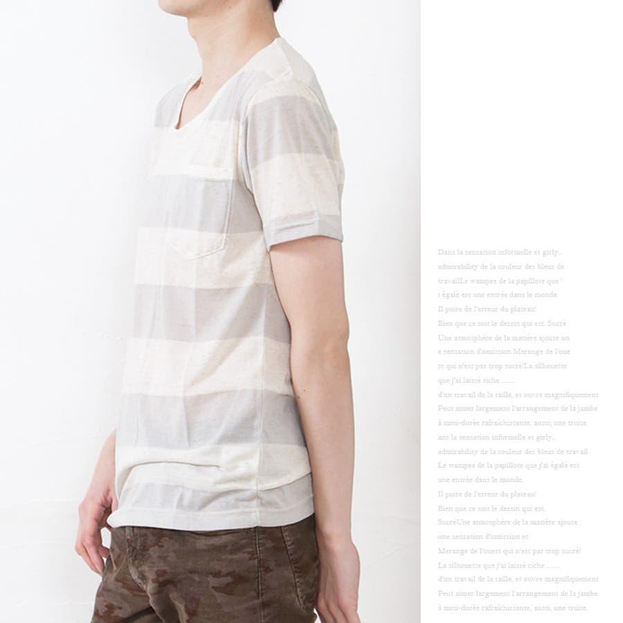 メンズ Tシャツ カットソー 麻混 ボーダー ポケット 薄手 クルーネック 丸首 半袖 カジュアル ホワイト ネイビー グレーブラック S M L XL 6