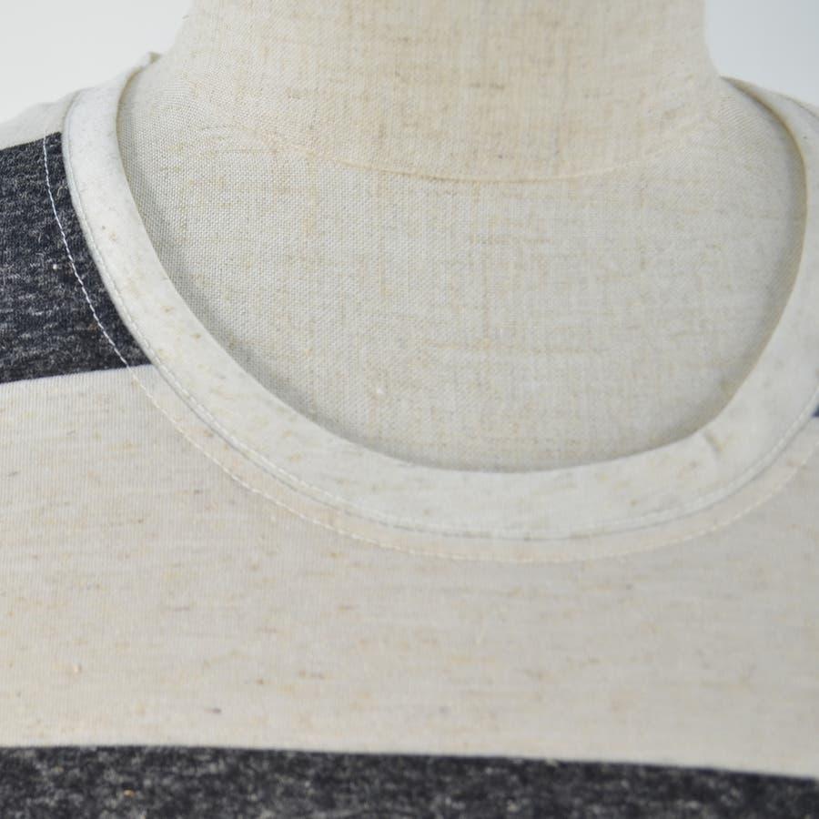 メンズ Tシャツ カットソー 麻混 ボーダー ポケット 薄手 クルーネック 丸首 半袖 カジュアル ホワイト ネイビー グレーブラック S M L XL 9