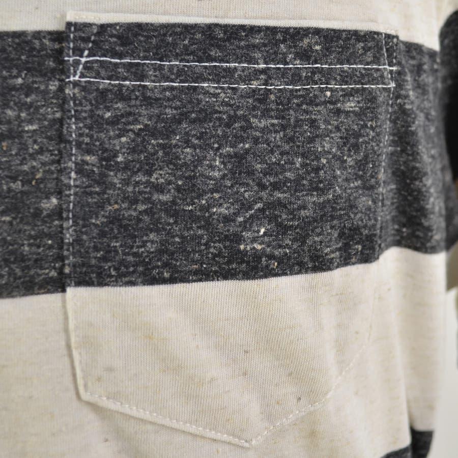 メンズ Tシャツ カットソー 麻混 ボーダー ポケット 薄手 クルーネック 丸首 半袖 カジュアル ホワイト ネイビー グレーブラック S M L XL 10
