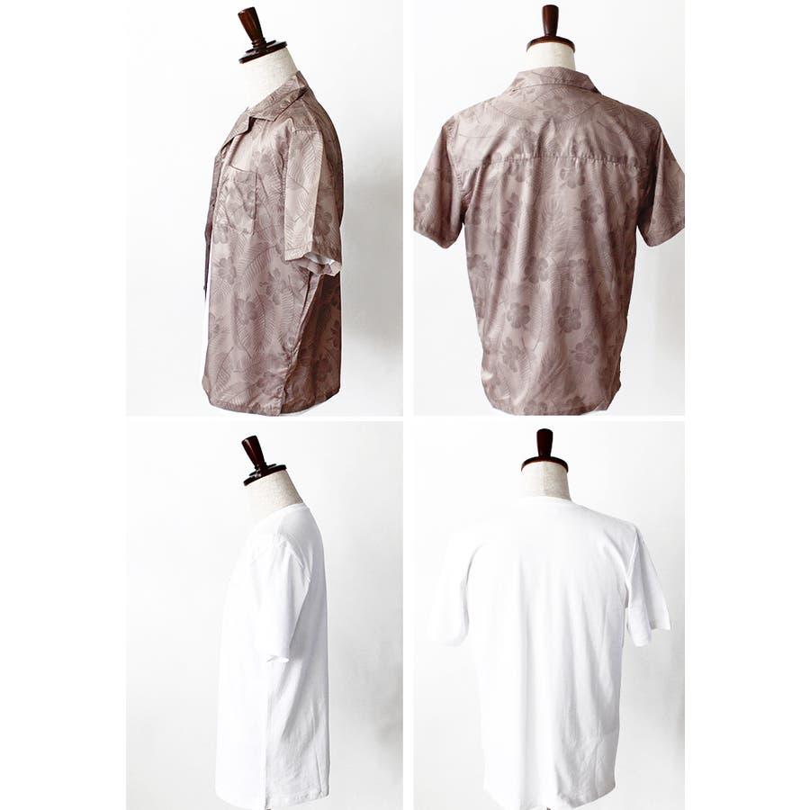 メンズ Tシャツ プリント シャツ オープンカラーシャツ ボタニカル柄 総柄 ストライプ柄 アンサンブル レイヤード 半袖 ゆったり 9