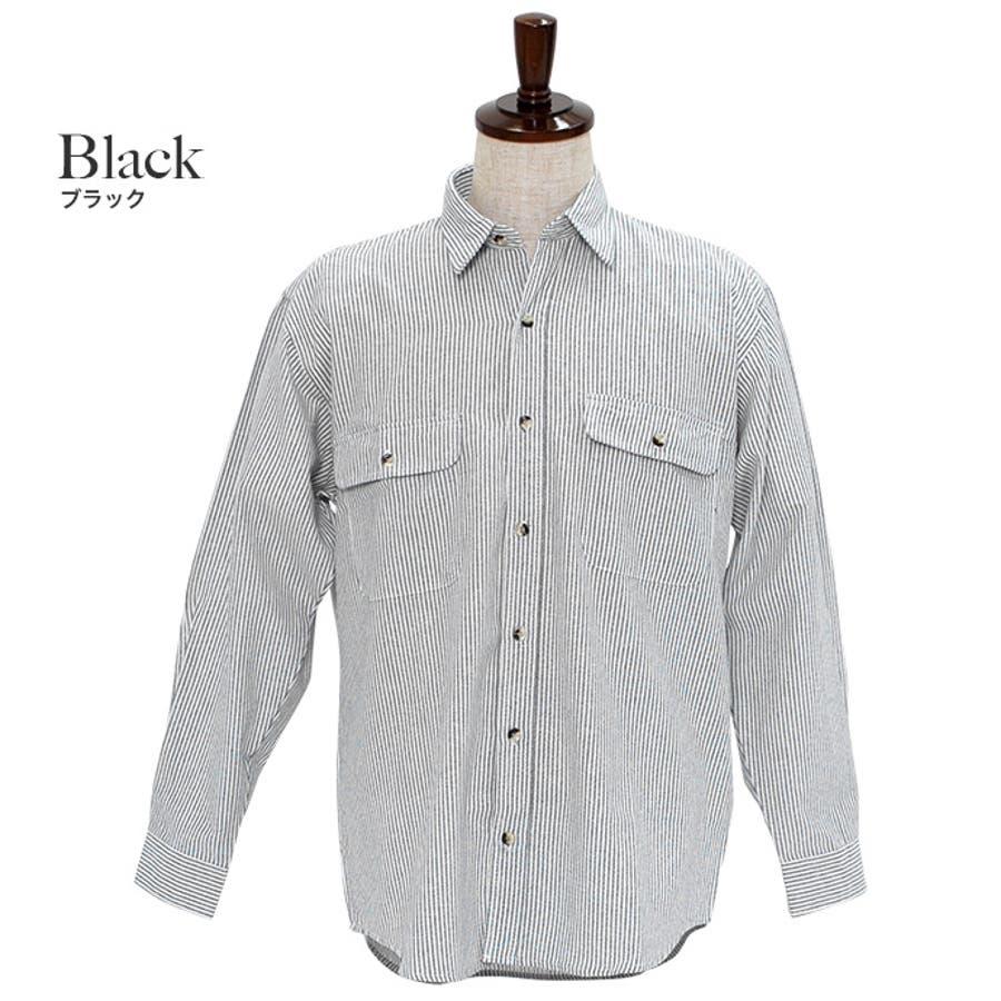 カジュアルなアイテムと合わせてみてもジャケットなどと合わせても◎:長袖シャツ 無地シャツ ヒッコリーシャツ 4