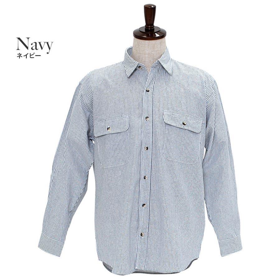 カジュアルなアイテムと合わせてみてもジャケットなどと合わせても◎:長袖シャツ 無地シャツ ヒッコリーシャツ 5