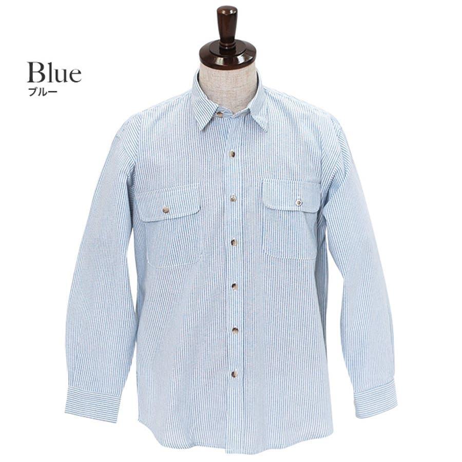 カジュアルなアイテムと合わせてみてもジャケットなどと合わせても◎:長袖シャツ 無地シャツ ヒッコリーシャツ 6