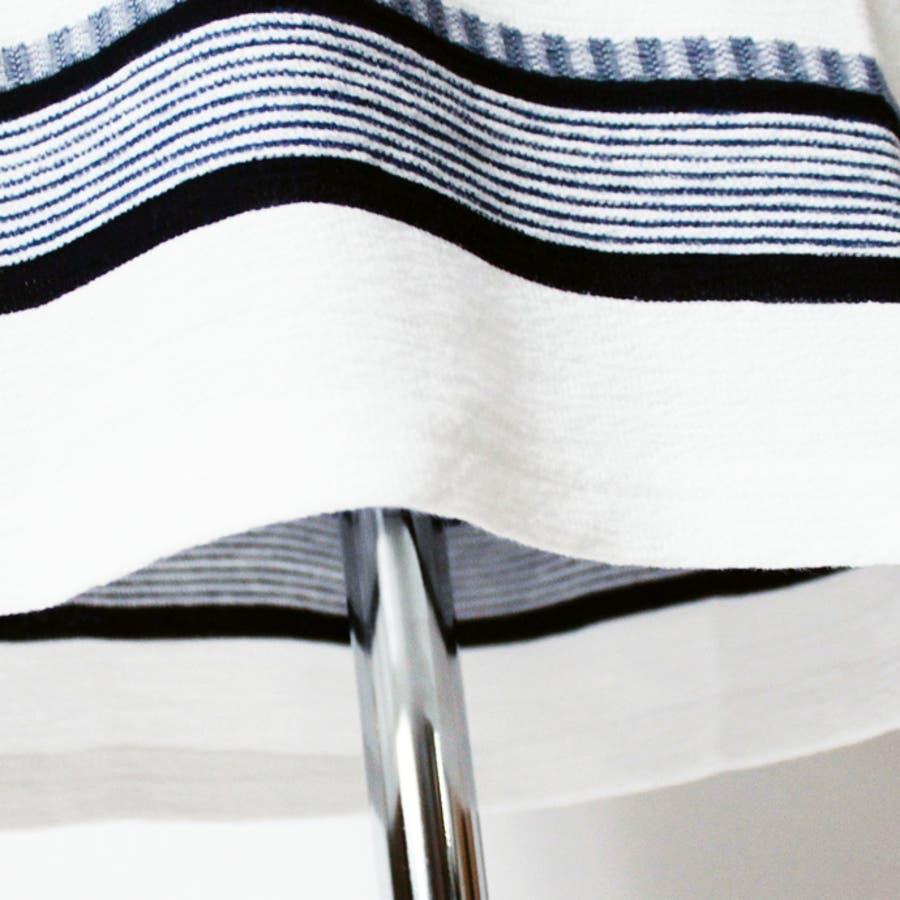 メンズ ボーダー 七分袖 Tシャツ クルーネック 丸首 トップス レイヤード 重ね着 ネイビー グレー 6