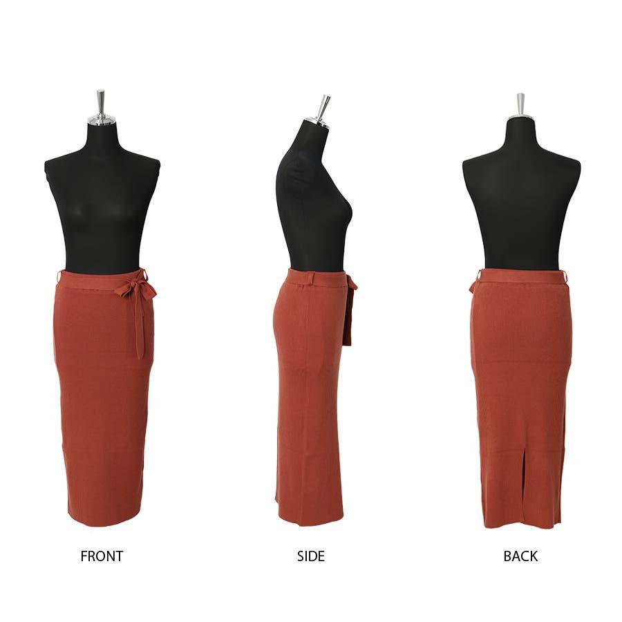 総針ベルト付きタイトスカート/春夏/セットアップ/ニットスカート 2