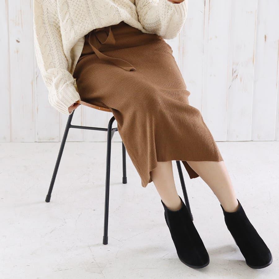 総針ベルト付きタイトスカート/春夏/セットアップ/ニットスカート 35